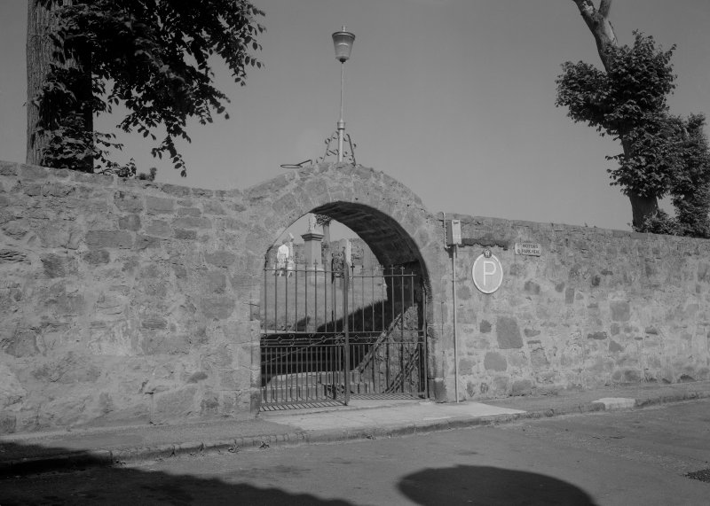 View of gateway to churchyard, St Adrian's Parish Church, Anstruther Easter, from S.