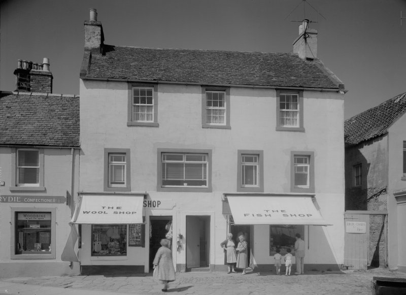 General view of 1-3 Shore Street, Anstruther Easter, showing the Wool Shop and the Fish Shop.