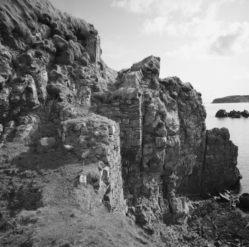 Dunyvaig Castle, Lagavulin Bay, Islay. View of site of bridge from North.