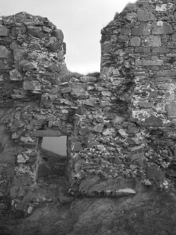 Dunyvaig Castle, Lagavulin Bay, Islay. View of Hall-Building, inner face of South side-wall, Westermost windows.