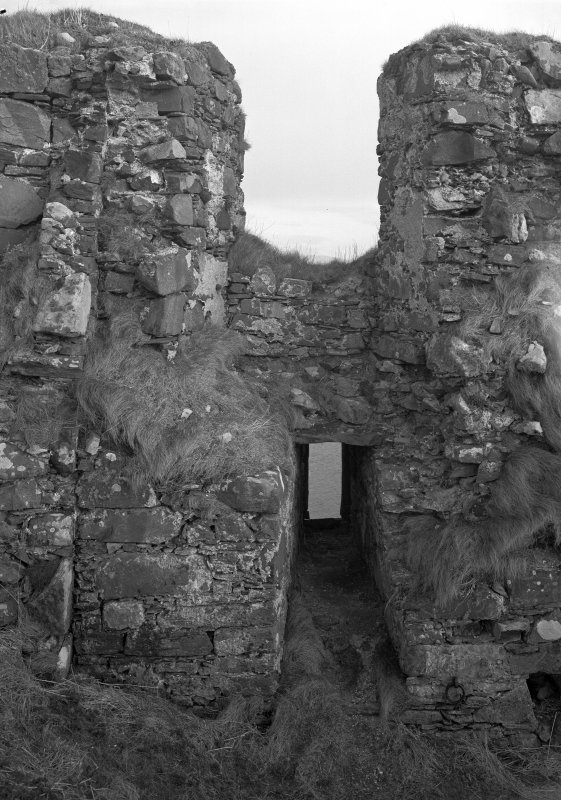 Dunyvaig Castle, Lagavulin Bay, Islay. View of Hall-Building, inner face of South side-wall, West end.