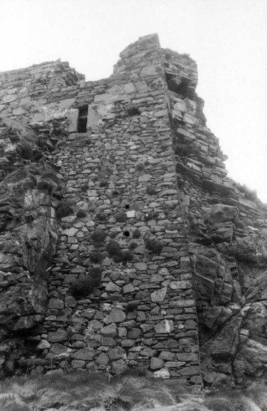 Dunyvaig Castle, Lagavulin Bay, Islay. View of East end of South front of Tower.