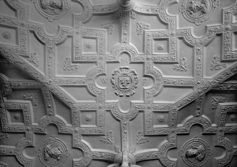Interior view of Craigievar Castle showing detail of hall ceiling.