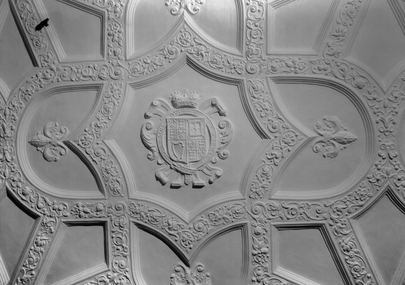 Interior view of Craigievar Castle showing detail of the White Room ceiling.