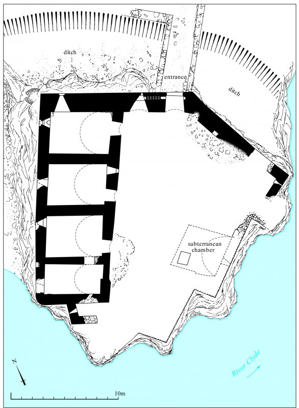 Corra Castle: Ground plan from Falls of Clyde Broadsheet. 400dpi copy of GV006453