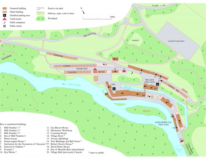 Map of New Lanark, from New Lanark RCAHMS Broadsheet 15. 400dpi copy of GV004120.