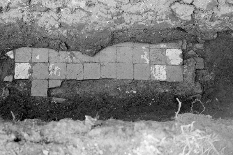 Excavation photograph : trench IX - 2nd tile floor, looking north.