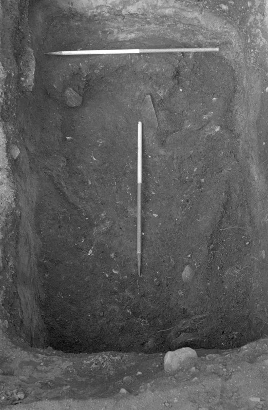 Excavation photograph : close up of pit f166 and clay lining, from S.