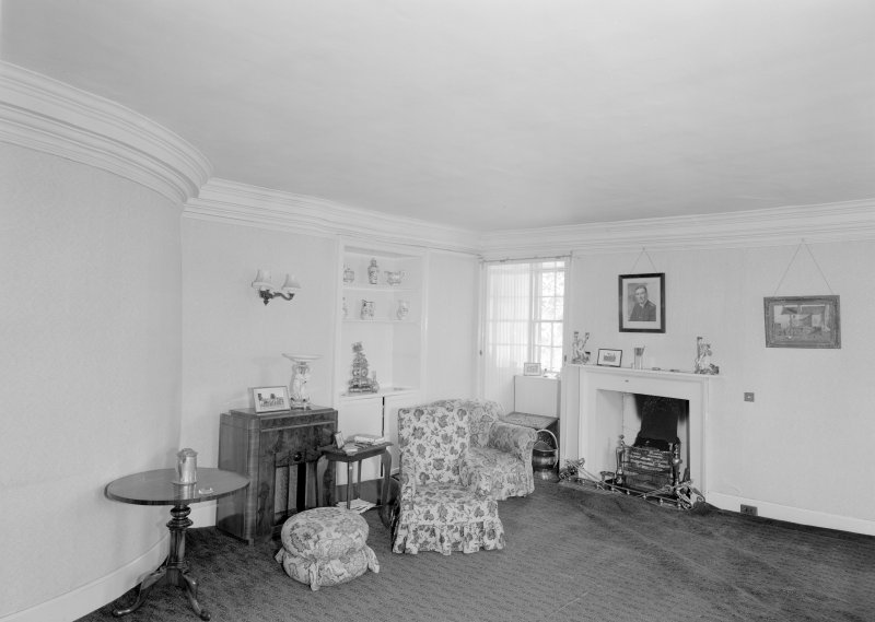 Interior view of Wedderlie House showing first floor drawing room with fireplace.