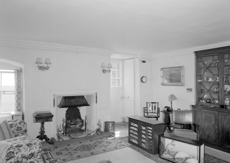 Interior view of Wedderlie House showing hall with fireplace.