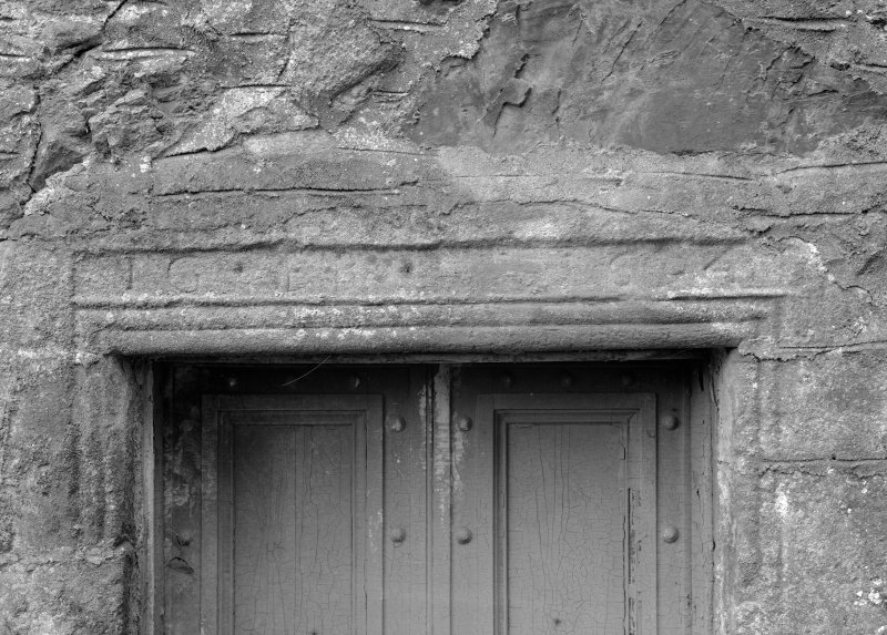 Detail of entrance lintel, Towie Barclay Castle.