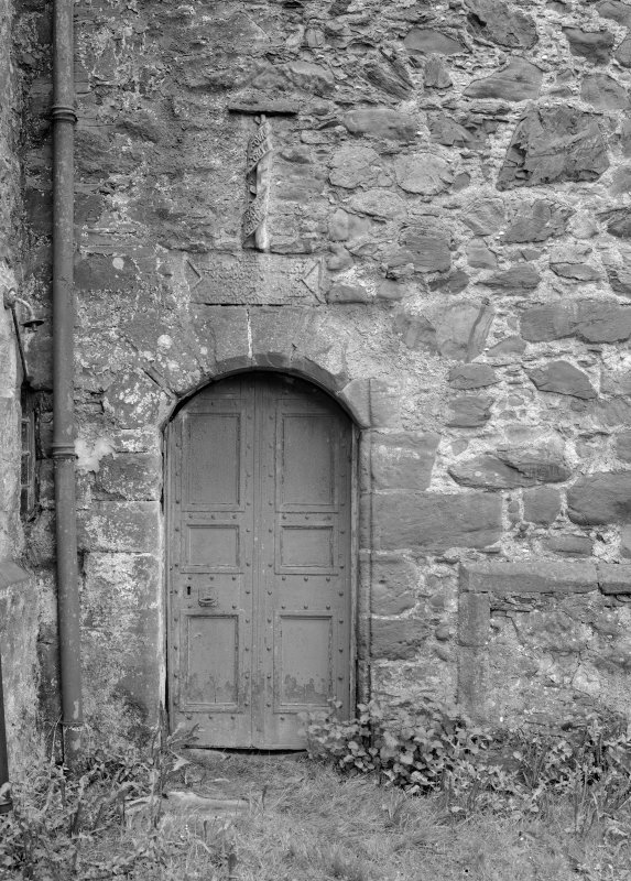 View of entrance doorway, Towie Barclay Castle.