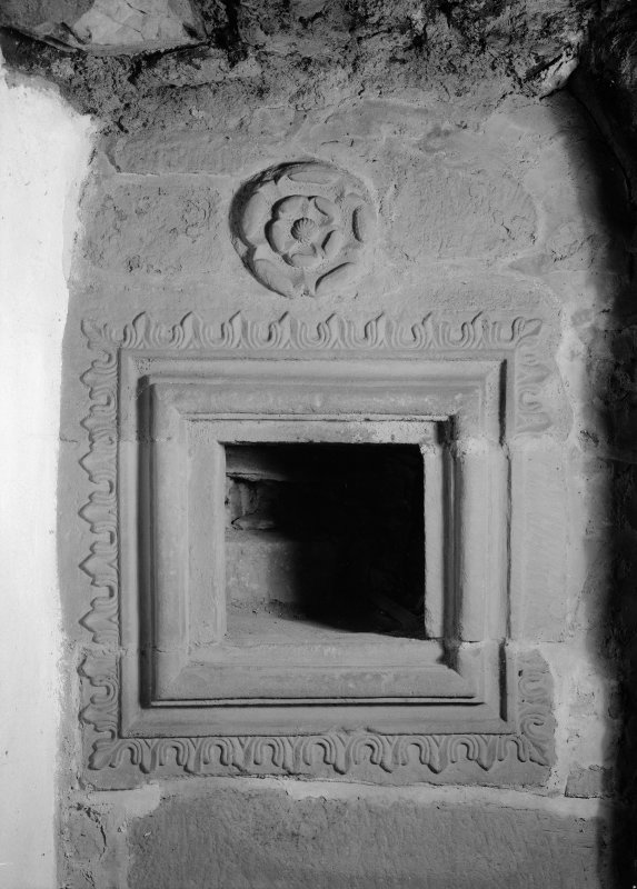 Detail within fireplace in Great Hall, Towie Barclay Castle.