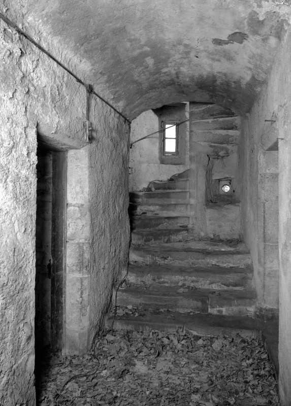 Interior view of Towie Barclay Castle showing principal staircase.