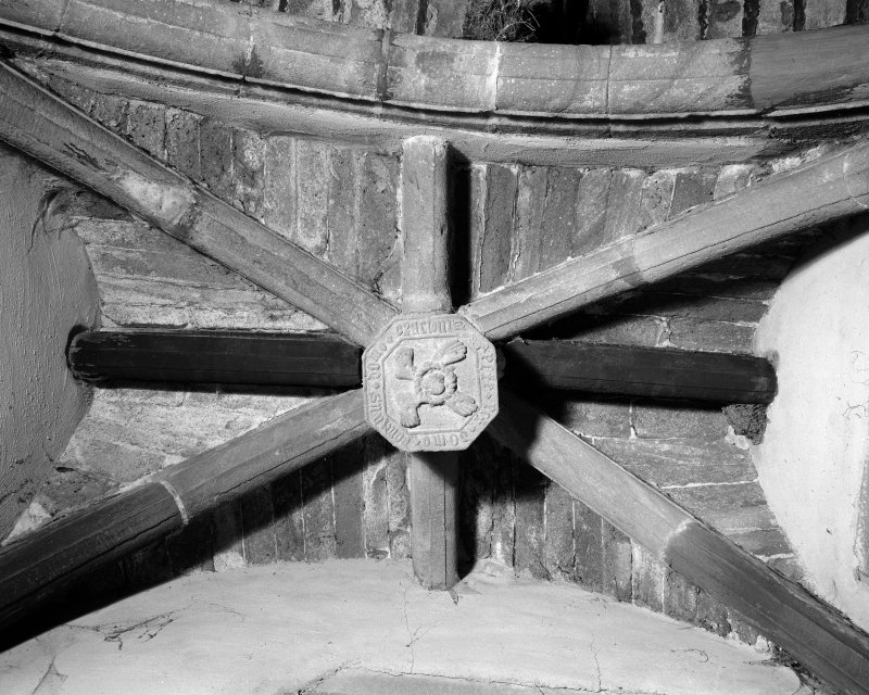 Interior view of Towie Barclay Castle showing detail of rib-vault and carved boss in Piper's Gallery in Great Hall.