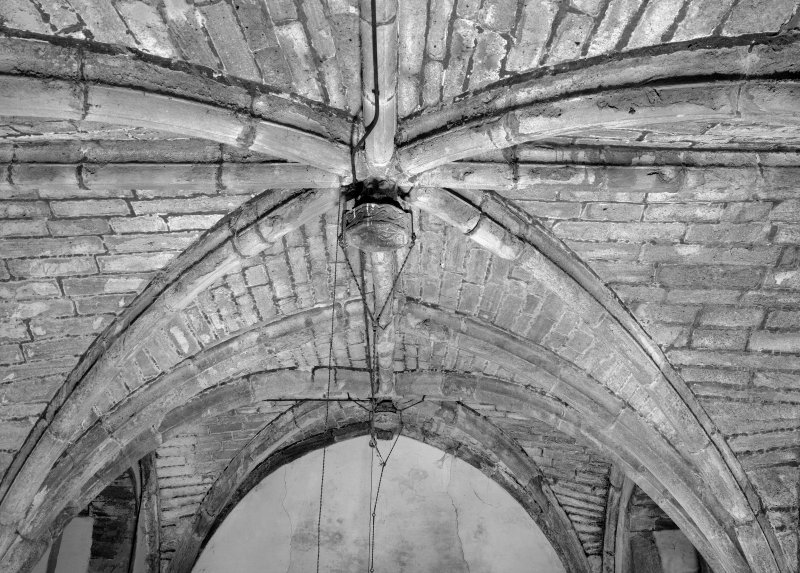 Interior view of Towie Barclay Castle showing detail of rib-vaulting on ceiling in Great Hall.