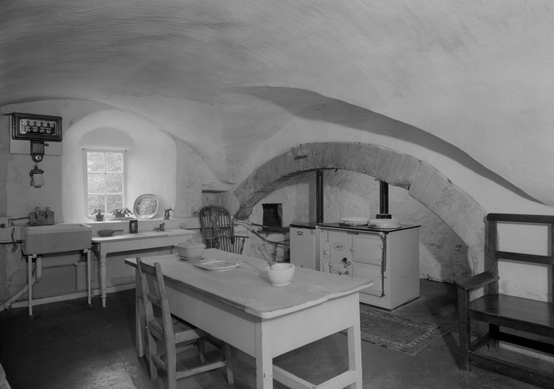 Interior view of Barra Castle showing vaulted kitchen.