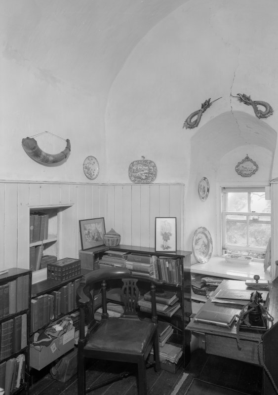 Interior view of Barra Castle showing office room.