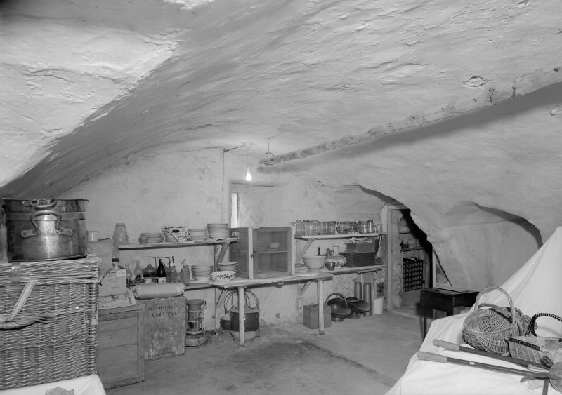 Interior view of Barra Castle showing vaulted larder.