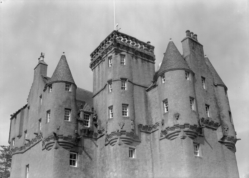 View of turrets from SW, Craigievar Castle.