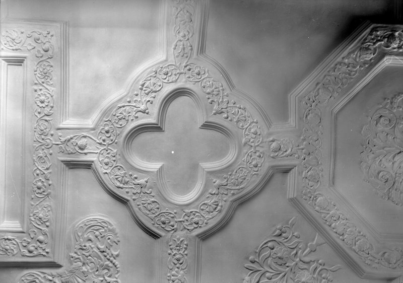 Interior view of Craigievar Castle showing detail of ceiling in Queen's room.