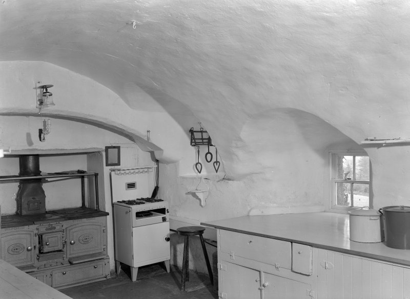 Interior view of Craigievar Castle showing dungeon, now a kitchen.