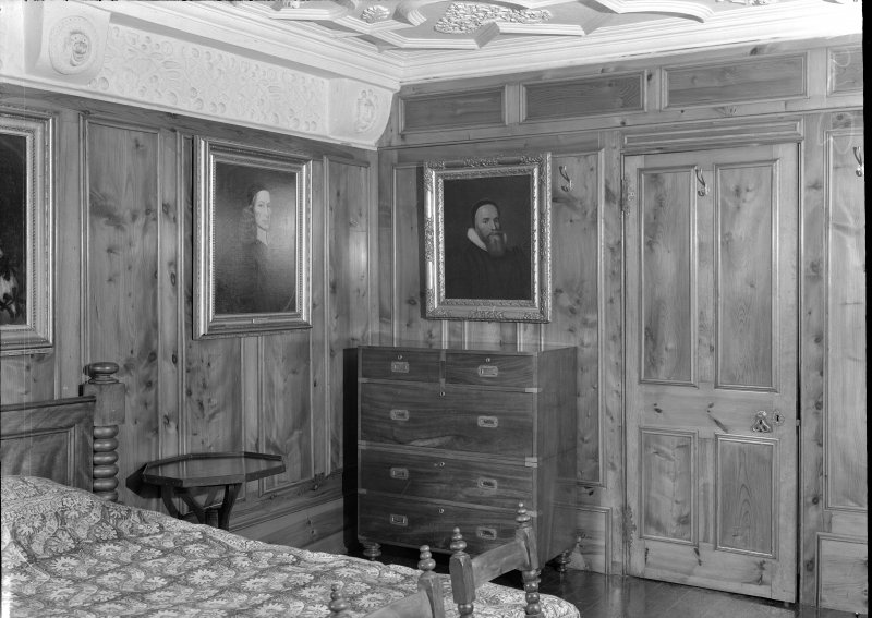 Interior view of Craigievar Castle showing first bedroom