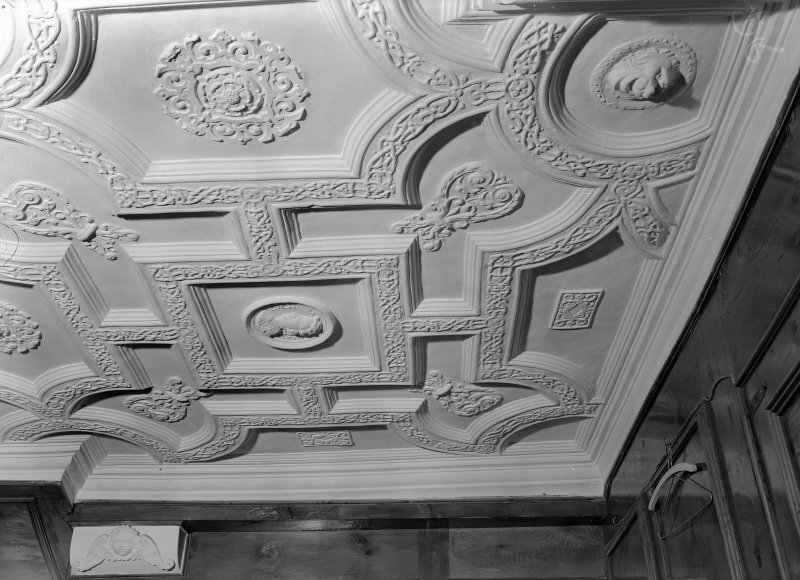 Interior view of Craigievar Castle showing detail of ceiling in drawing room.