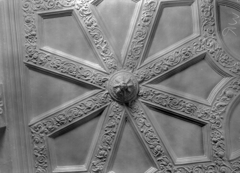 Interior view of Craigievar Castle showing detail of ceiling in White Room.