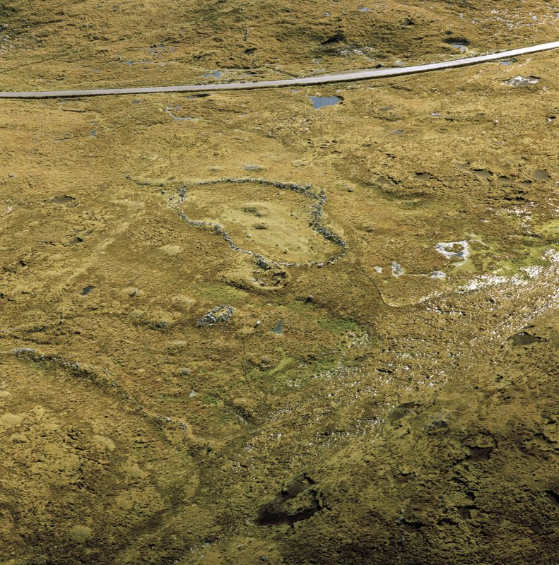 Oblique aerial view of Scord of Brouster
