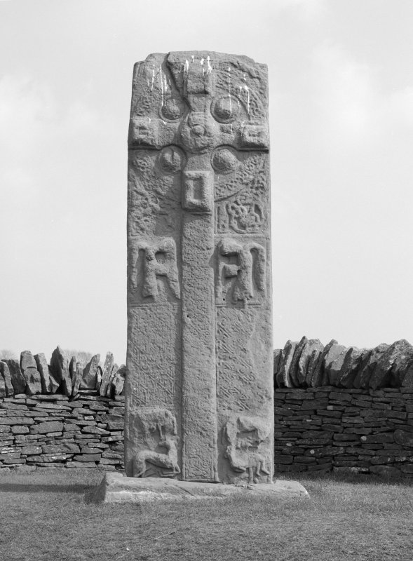View of face A of Pictish cross-slab Aberlemno 3.