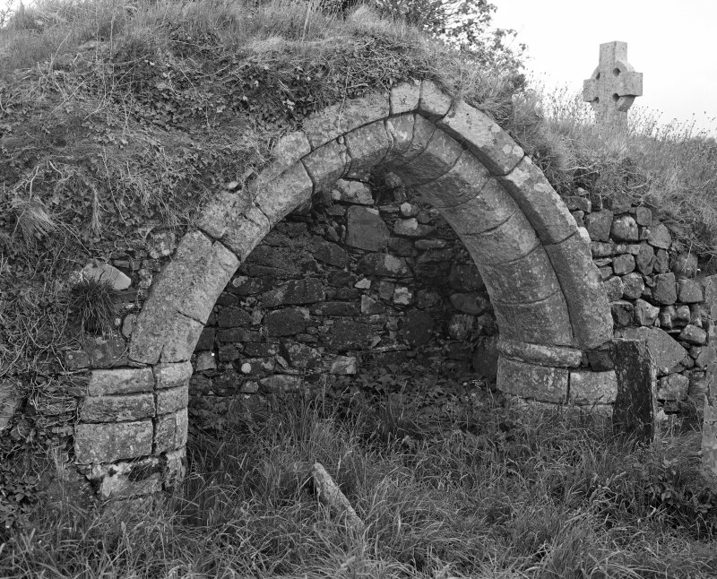 Keil Old Church. View of North burial arch from South.
