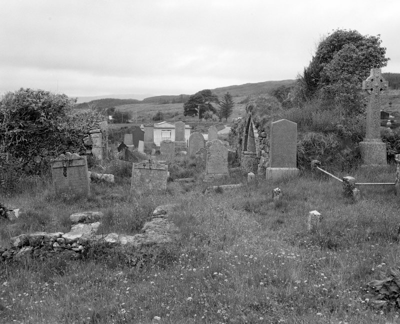 General view of tombstones between north and south burial aisles