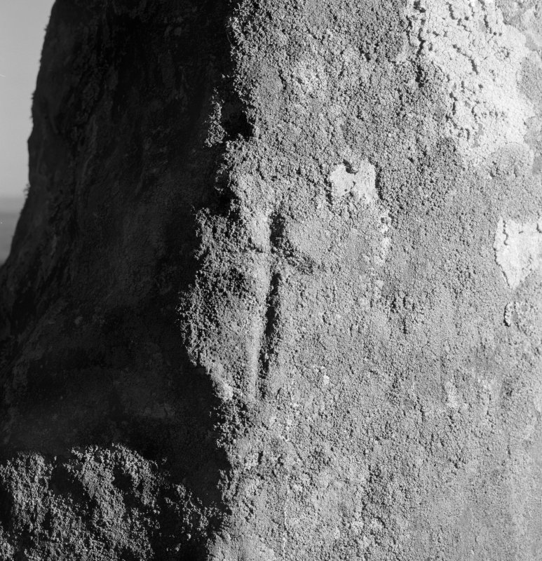 View of small incised cross on standing stone at Fowlis Wester.