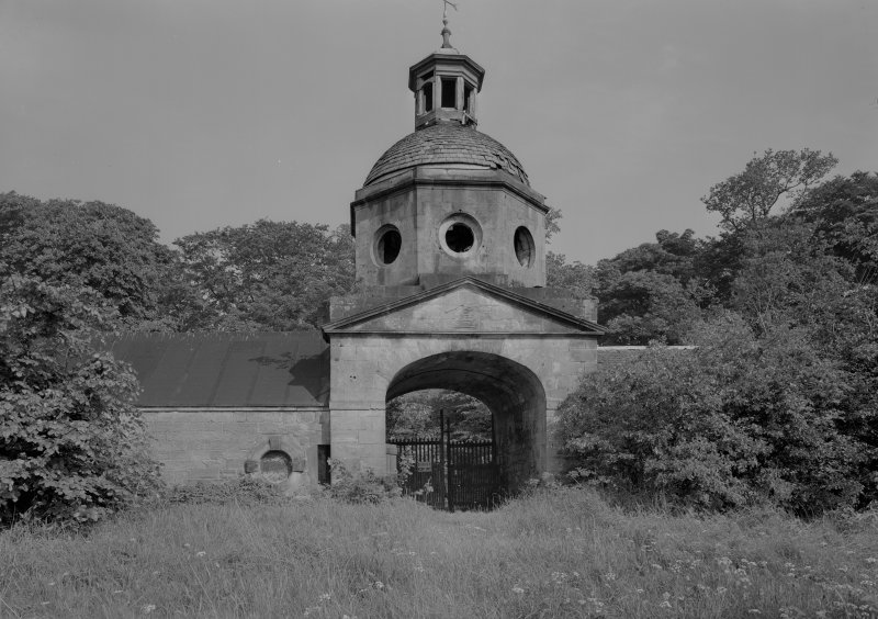 View of octagonal tower, seaward elevation, Donibristle House stables.
