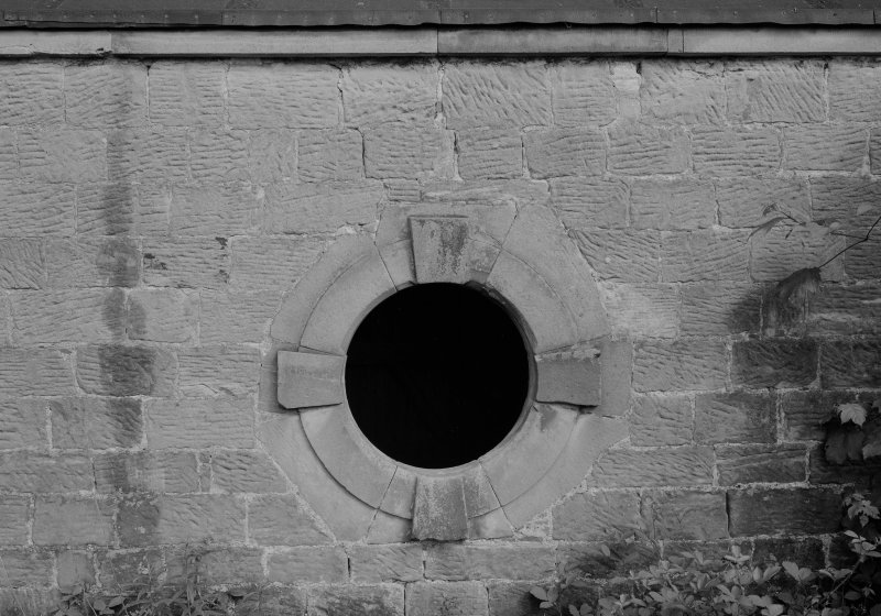 View of round window, Donibristle House stables.