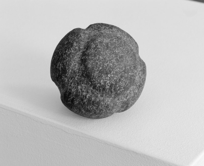 View of carved stone ball found during excavations in Tarbat Old Parish Church at Portmahomack.