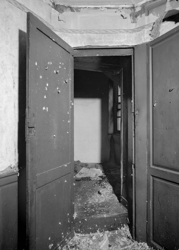 View of first floor access door to the tower, Wallace Tower (Benholm's Tower), Netherkirkgate, Aberdeen.