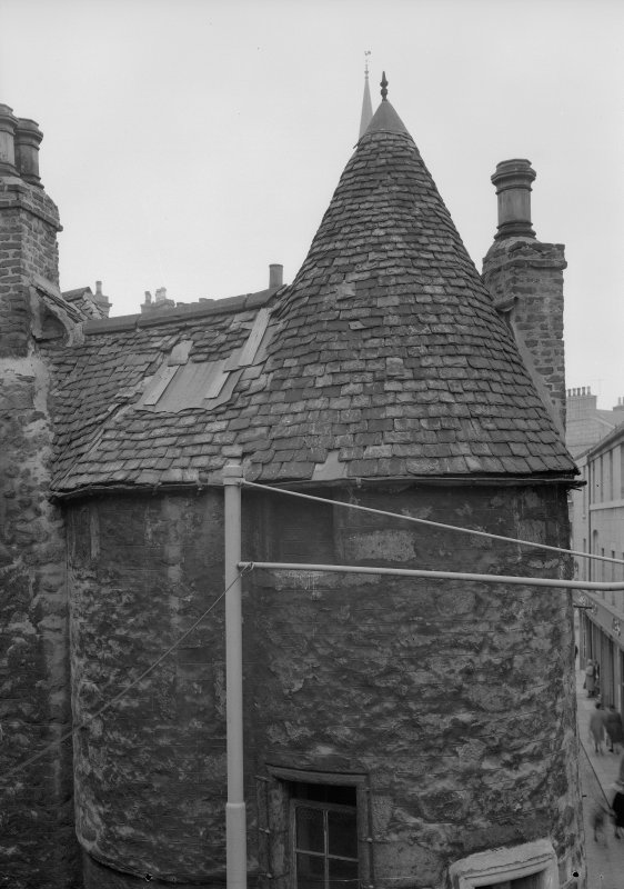View of tower slating, Wallace Tower (Benholm's Tower), Netherkirkgate, Aberdeen.