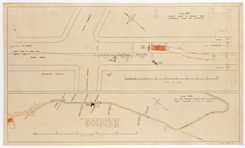 Largs.  Legal illustrations for Riddet versus Humphrey. Site plans of road illustrating motor accident near Blackdales Garage.