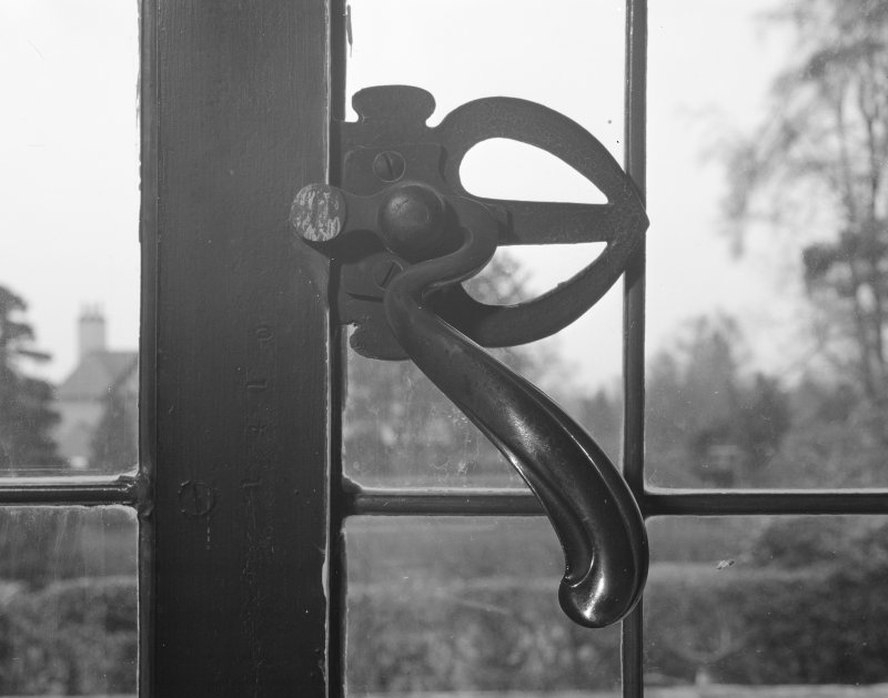 Hill House, interior Detail of window handle, drawing room, ground floor