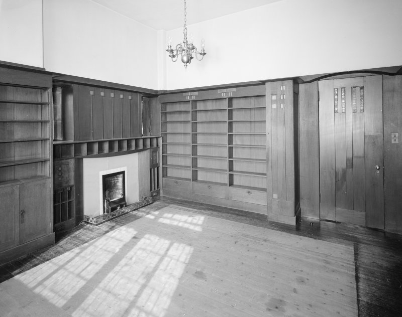 Hill House, interior General view of library from South East