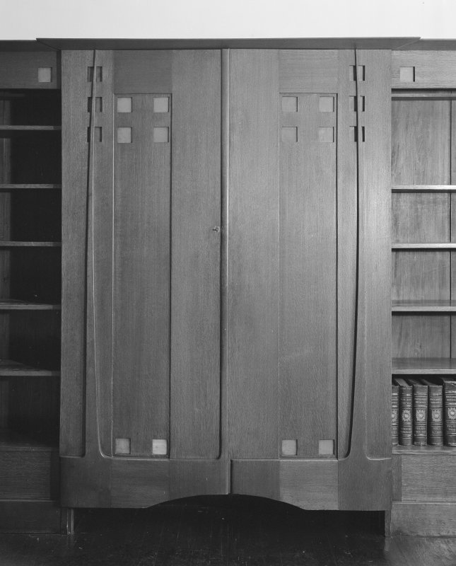 Hill House, interior View of twin-leaf door unit, Library
