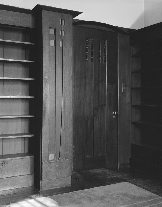 Hill House, interior View of end-cupboard and doorway, Library