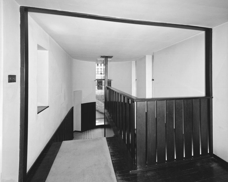 Hill House, interior View of balustrade on first floor landing, staircase