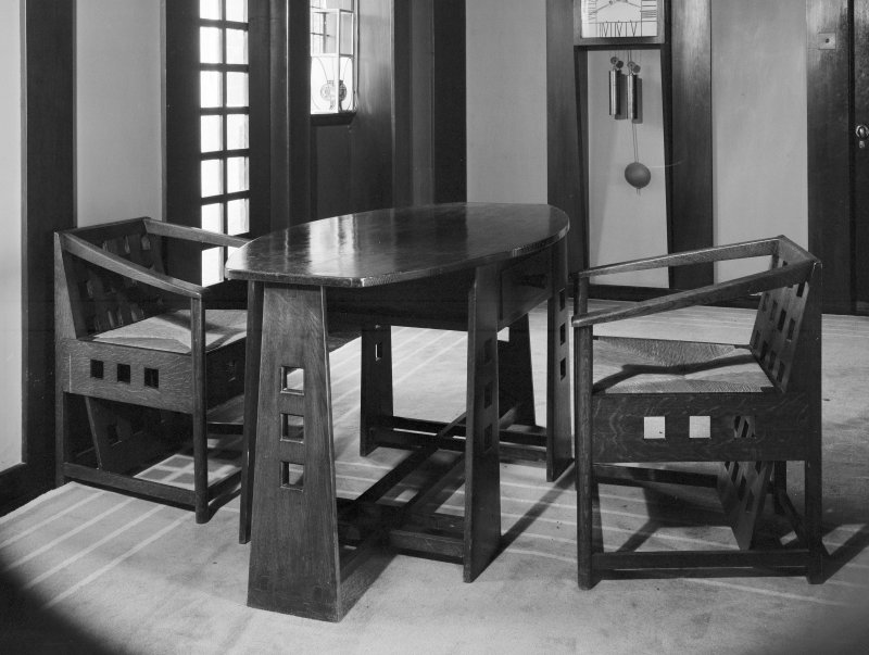 Hill House, interior View of table and chairs, hall