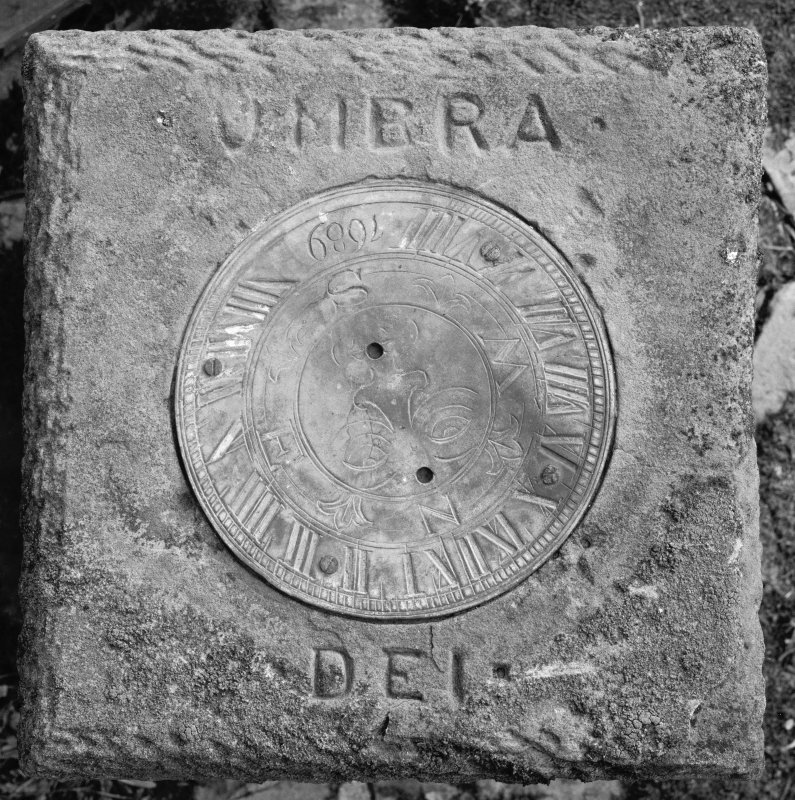 Hill House View of sun dial face and engraved plate (engraved 'UMERA DEI')