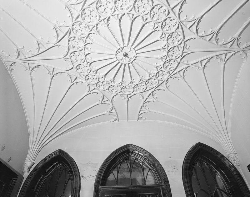 Interior. Detail of plaster fan vaulted ceiling in entrance hall.