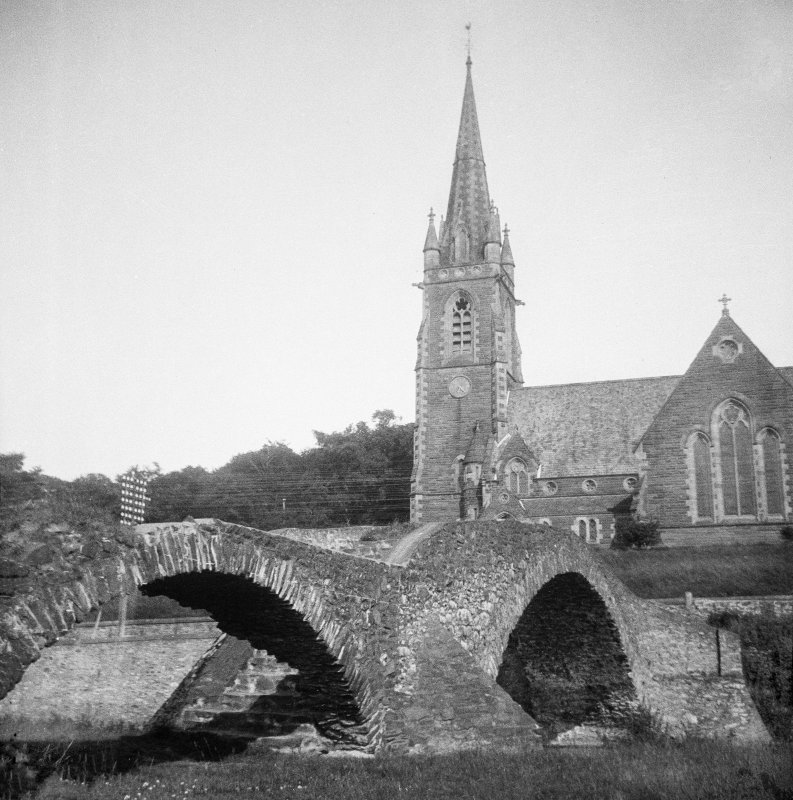 View of Old Stow Bridge and Stow Kirk from SW.