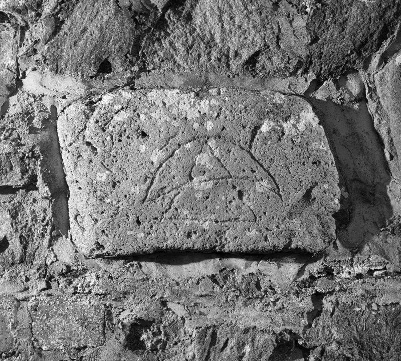 View of Pictish symbol stone, incised with a triangle and crescent, known as Dunnicaer or Stonehaven no. 3.